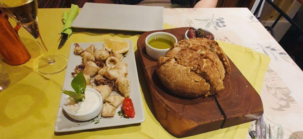Fresh Bread & Calamari at Avli Restaurant Kos
